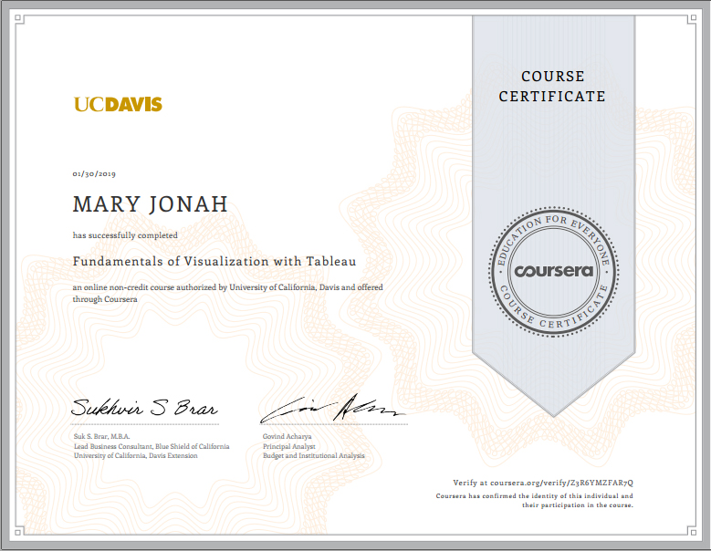 Fundamentals of Data Visualization with Tableau Certificate